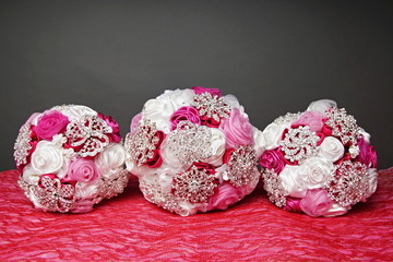 Three beautiful wedding bouquet for bride