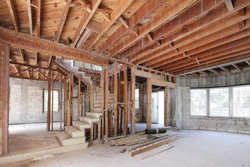 Stock image of a house under construction