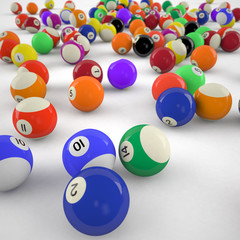 closeup of billiard balls
