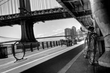 Manhattan Waterfront Bike Path B&W