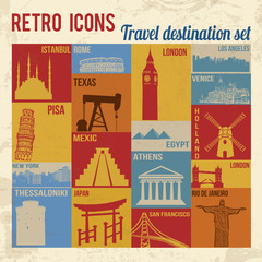 Travel destination icons set