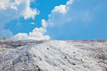 Paraglider over Pamukkale Travertines - Turkey