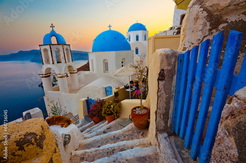 Santorini Sunset Pathway View - 64736045