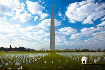 Washington Monument over Iraq Warmemorial field
