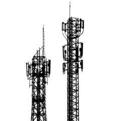 vector telecommunications tower with different antenna