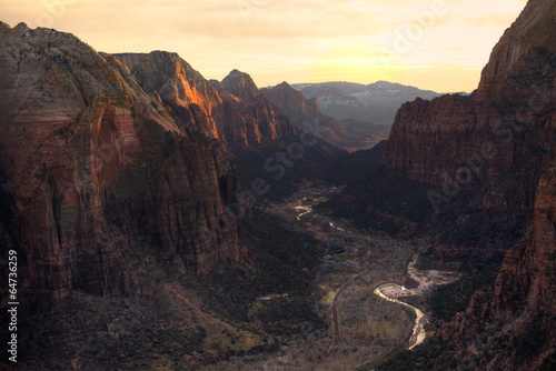 View of Zion Canyon National Park from Angel's Landing Trail - 64736259