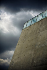 Yad Vashem wall against cloudy sky