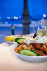 Greek Salad at Outdoor Cafe - Naxos, Greece