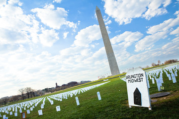 Washington Monument over Iraq War memorial field