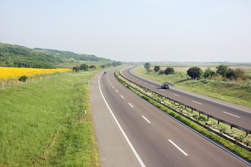 Highway driving in good sunny weather