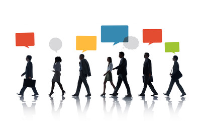 Multiethnic Business People Walking in a Row with Speech Bubble