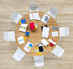 Office Table with Equpments and Documents
