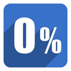zero percent flat icon