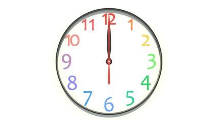 正午を示す時計
