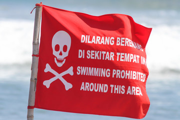 Red Flag with No Swimming Sign .