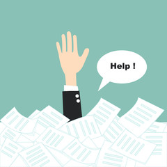 businessman need help under a lot of paper