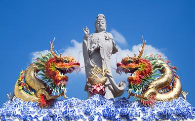 Guan Yin Buddha Statue and Dragon