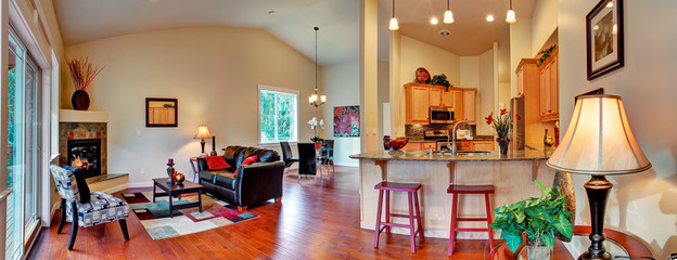 House interior. Open floor plan panoramic view