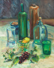 Still-life with green bottle