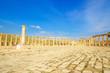 Oval Forum in the ancient Jordanian city of Jerash, Jordan
