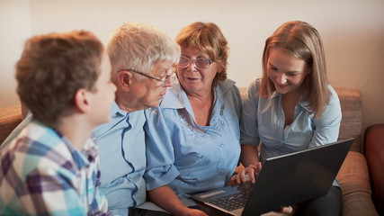 Teenagers and Old Persons Learn Laptop