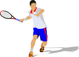 Tennis player. Colored Vector illustration