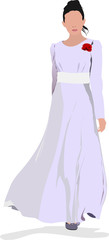 Beautiful girl in white gown on white background. Vector illustr