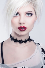 Young and beautiful model woman face