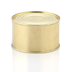 Golden tin can isolated