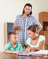 Family doing homework