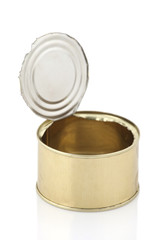 Open an empty tin can isolated