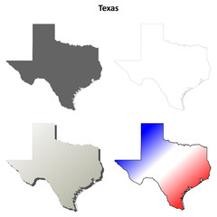 Texas blank outline map set