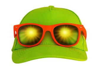 Sunglasses on the cap