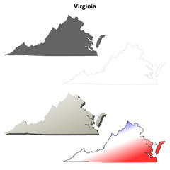 Virginia blank outline map set