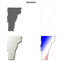 Vermont blank outline map set