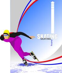 Speed skating poster. Vector illustration