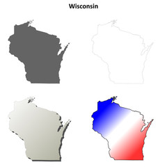 Wisconsin blank outline map set