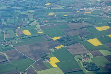 farmed fields aerial view