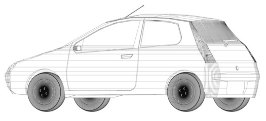 Wireframe design of car