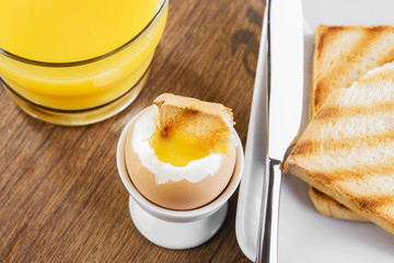soft-boiled egg  Breakfast with toasts