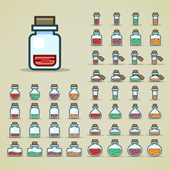 Colorful bottles of potion