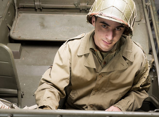 driver of a military vehicle of World War II
