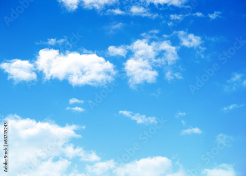 blue sky background with tiny clouds - 64745243