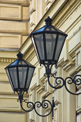 Typical lanterns on 19th century neoclassic building in Vienna
