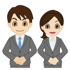 スーツの男性と女性