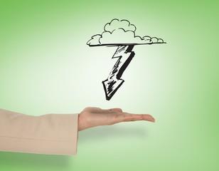 Composite image of female hand presenting lightning arrow