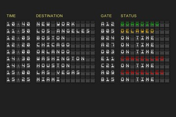 Departures list on black mechanical board