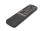 black TV remote control on white background poster