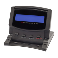 black digital alarm clock