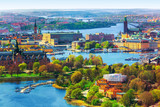 Fototapety Aerial panorama of Stockholm, Sweden